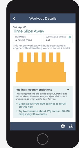 Screenshot of Reddiyo Cycling Workout with Fueling Recommendations